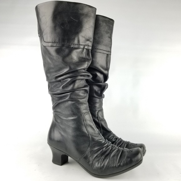 e18b3d8086c Rieker Shoes | Boot Tall Ruched Leather Riding Black 40 Eu | Poshmark